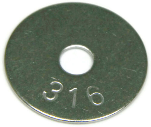 316 Stainless Steel Fender Washer 8 x 3//4 Qty 100