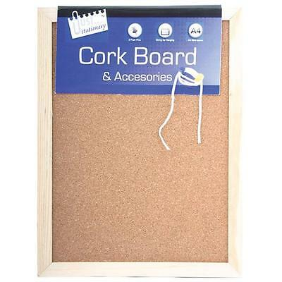 A4 x Kitchen Cork Notice Wooden Board 28.5cm x 21.5cm + 2 x Pins & Hanging Cord