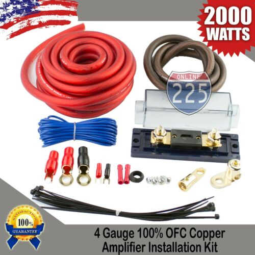 4 GAUGE AWG 100/% OFC COPPER POWER AMP KIT AMPLIFIER WIRING INSTALL 2000 WATTS US