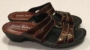 Details about Unworn Josef Seibel Brown Patent Leather Slides Sandals Shoes Womens 37 6 6.5