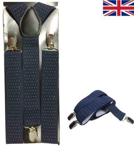 Unisex Navy Dot Design Da Uomo 35 mm Ampio Regolabile Bretelle elastico Bretelle UK