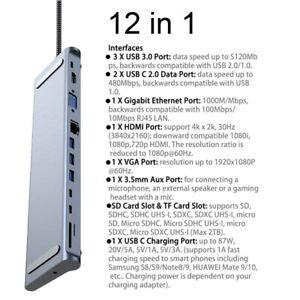12-in1-USB-C-3-1-HUB-Type-c-HD-USB-3-0-4K-30Hz-Docking-station-For-MateBook-ASUS