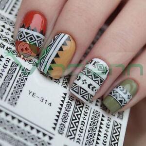 Adesivo-sticker-Tribale-nail-art-decorazione-unghie-unghia-trasferimento-acqua
