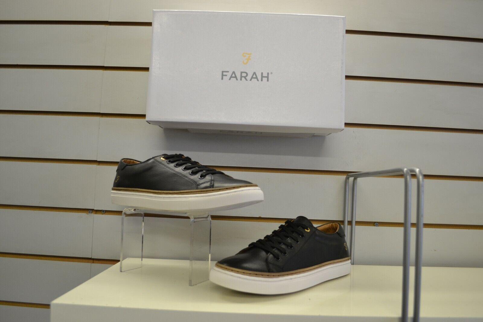 Men's Farah Bush Black Leather Laced Casual shoes Trainers UK 9 EU 43