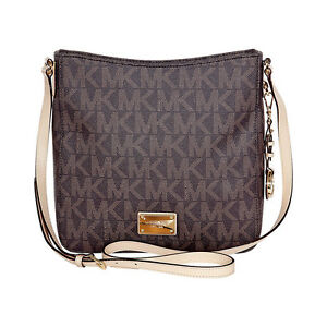 Image is loading Michael-Kors-Jet-Set-Brown-PVC-Large-Messenger-