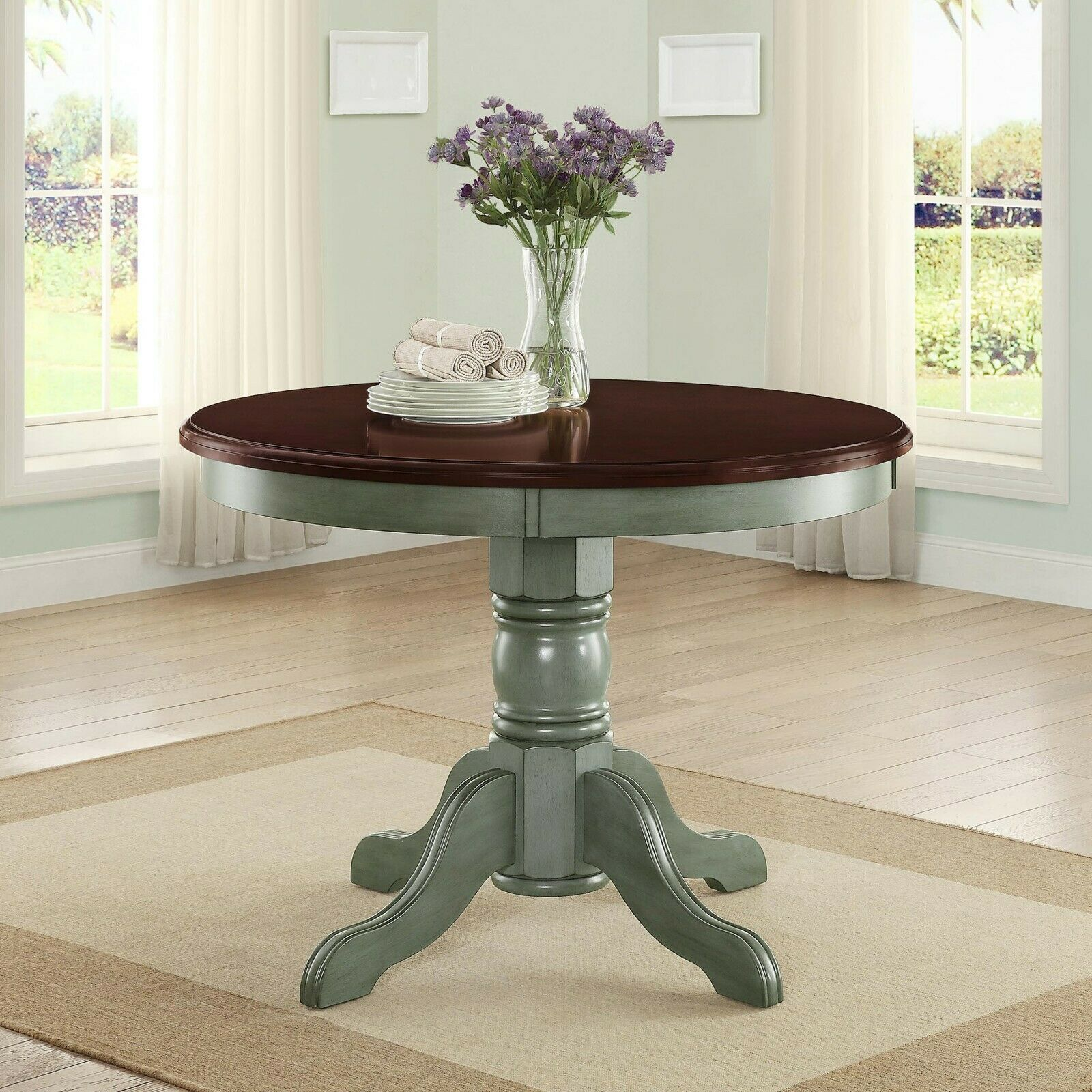 Round Wood Kitchen Table Dining Rustic Farmhouse Country Style Kitchen Nook  42\