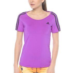 el centro comercial fresa Leer  New Adidas Climalite Fitness Top T-Shirt - Purple - Ladies Women's Gym  Running   eBay