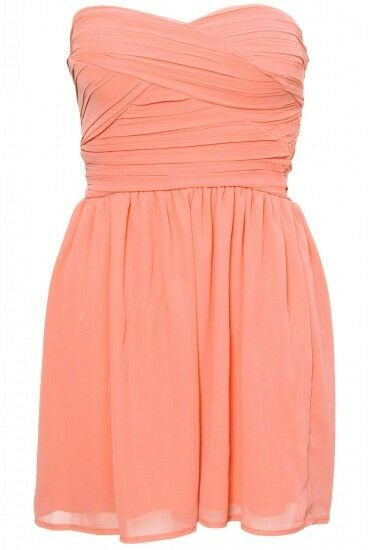 New TOPSHOP chiffon bandeau dress by Rare UK 14 in Pastel Coral
