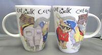Animal Fashion Cat 12oz Fine Bone China Mugs, Made In England Roy Kirkham