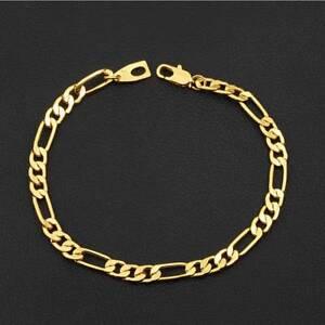 18K-Yellow-Gold-Plating-Women-Men-Bracelet-Curb-Chain-Fashion-Bangle-Jewelry-New