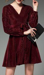 Caricamento dell immagine in corso Elegante-vestito-abito-corto-rosso -velluto-tubino-slim- 1761299bd3c