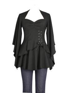 Plus-Size-Black-Gothic-Kimono-Sleeve-Sweetheart-Side-Corset-Top-1X-2X-3X-4X