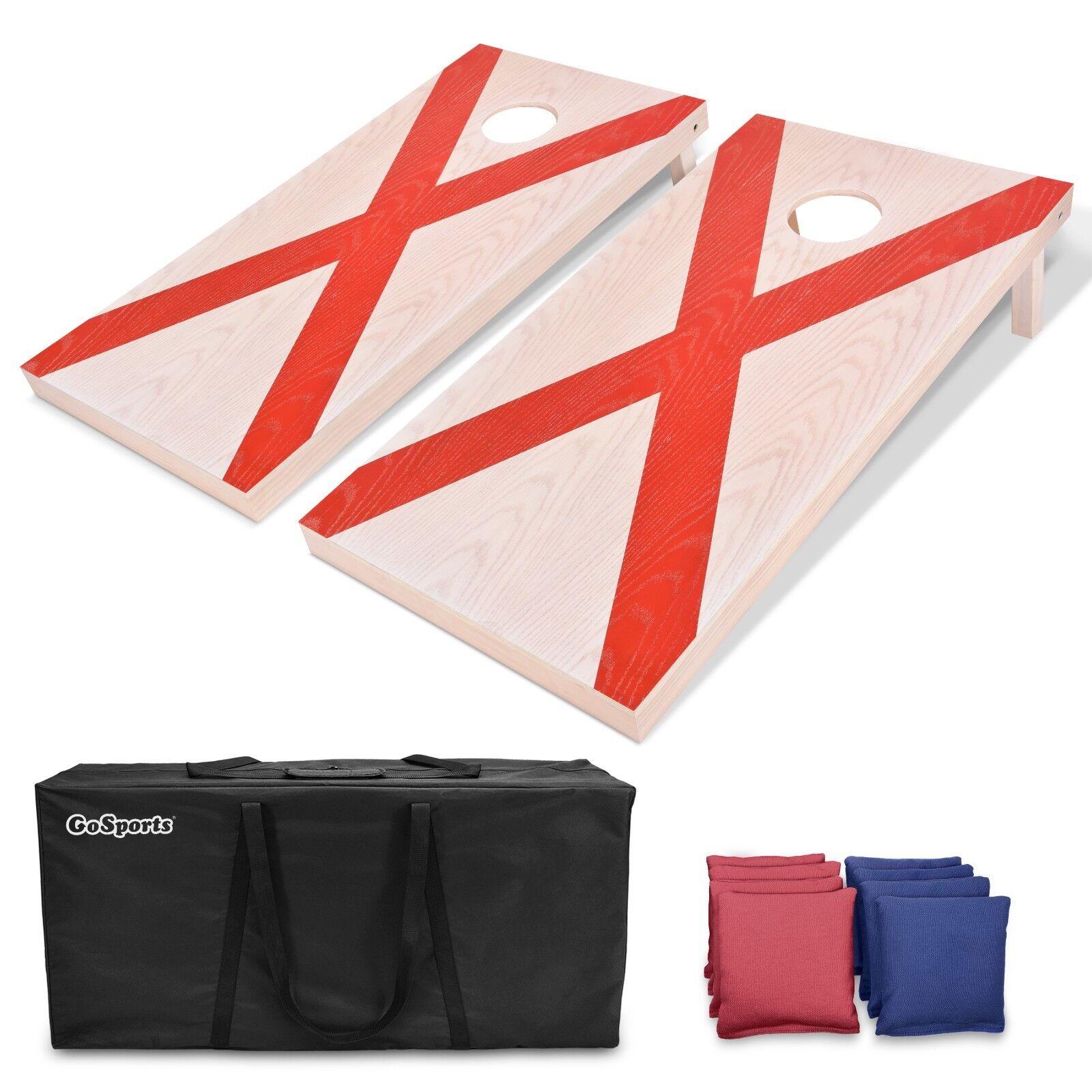 GoSports Alabama Flag Regulation 4'x2' Solid Wood Bean Bag Toss Set
