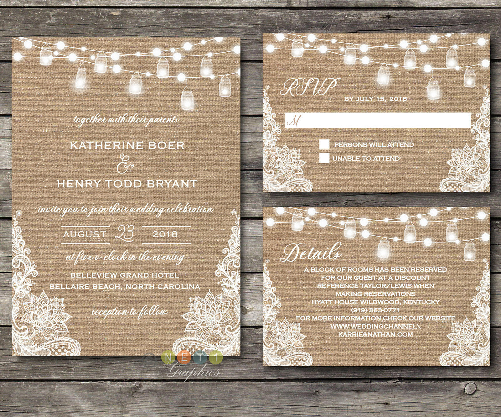 Personalized Rustic Burlap Lace String Lights Lace Wedding Invitations