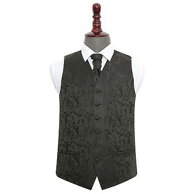 "DQT Premium Jacquard Passion Men's/Boy's Wedding Waistcoat & Cravat Set 24""-50"""