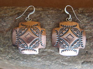 Navajo-Indian-Hand-Stamped-Hammered-Copper-Earrings-by-Curley