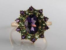 LOVELY 9CT 9K GOLD AFRICAN AMETHYST PERIDOT CLUSTER ART DECO INS RING FREE SIZE