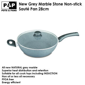 Details about P&P Marble Stone Coated Non-stick Flat Saute Pan 28cm with  Lid - Induction