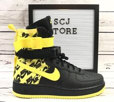 Nike Special Field Air Force 1 SF AF1 Yellow Logos Mens Sz 9 9.5 10 AR1955 001
