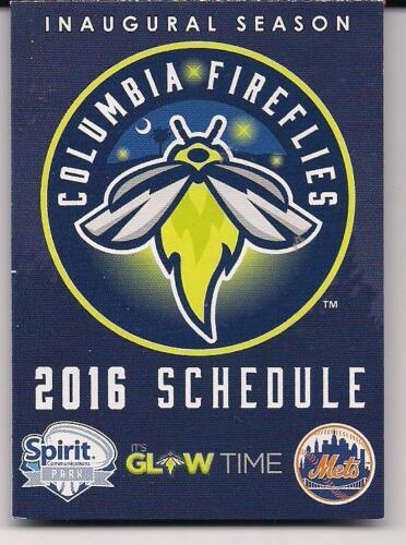 2016 Columbia Fireflies Pocket Schedule