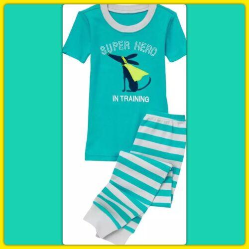 NWT 4 Gymboree GYMMIES sleepwear PJs Pajamas 2pc SUPER HERO DOG CAPE Teal Gray