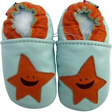 carozoo starfish light blue 2-3y soft  sole leather toddler shoes
