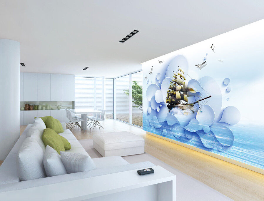 3D Boat Ocean 419 Wallpaper Murals Wall Print Wallpaper Mural AJ WALLPAPER UK