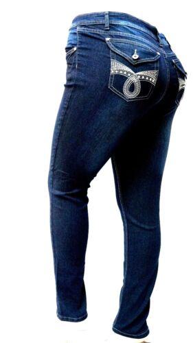 L/'SQUARE DARK BLUE WOMEN/'S PLUS SIZE denim jeans SKINNY LEG LS98173MS SIZE 14-24