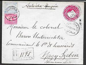 Egypt covers 1903 uprated R-cover HELOUAN to NAGY SZEBEN!