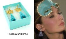 Holly Golightly Audrey Hepburn Style Teal Heart Tassel Earring Styled Earplugs
