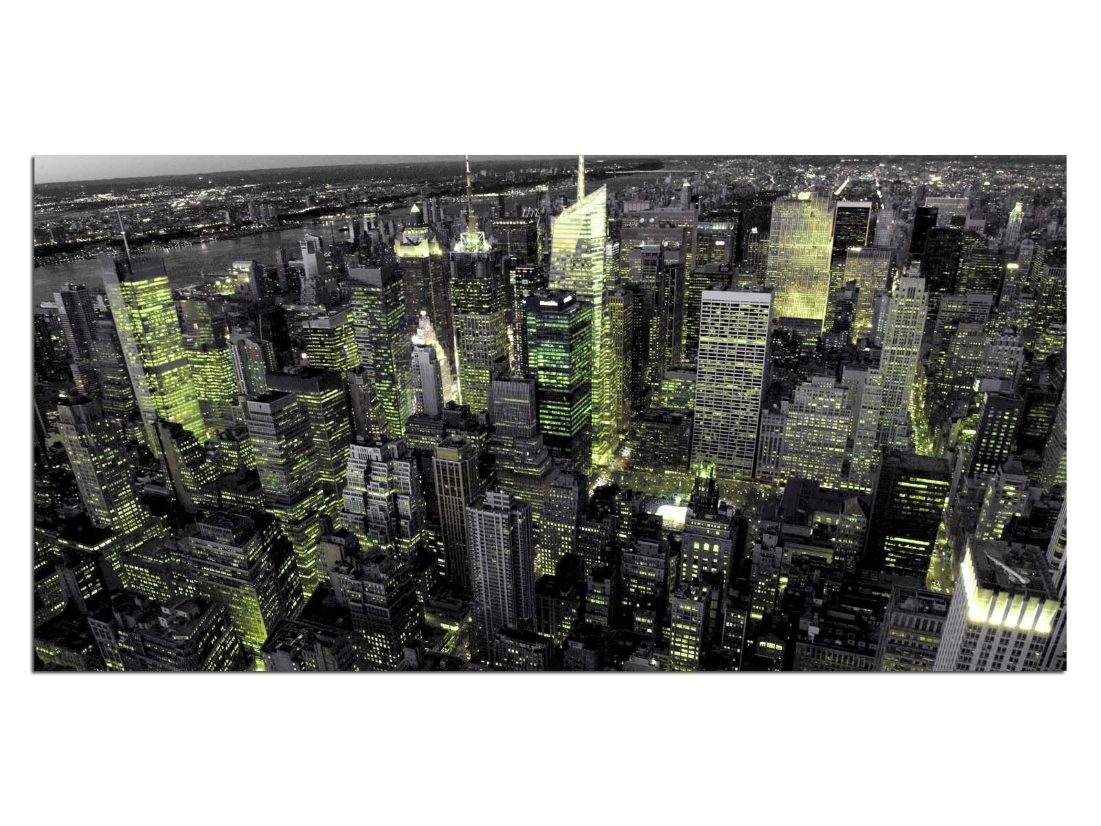 HD Glasbild EG4100500893 LICHTER NEW YORK GRÜN 100 x x x 50 cm Wandbild STADT c5ce0d