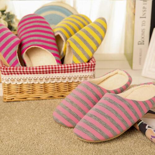 Men Women Soft Warm Stripe Indoor Non-slip Slippers Mule Comfy Home Shoes Couple