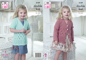5dc72bcbb King Cole Double Knitting Pattern Girls Long or Short Sleeved Lacy ...