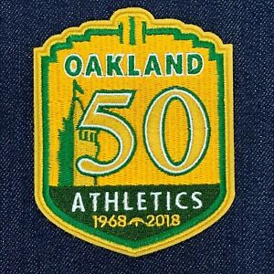 huge selection of a5362 49b8d Details about OAKLAND ATHLETICS 50TH ANNIVERSARY 1968-2018 JERSEY PATCH  IRON ON