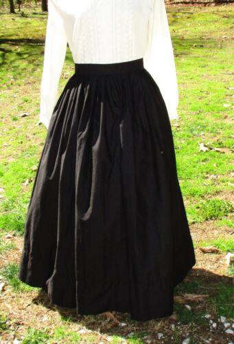 CIVIL WAR DRESS~VICTORIAN STYLE-COTTON JETT BLACK CAMP//WORK//MOURNING SKIRT