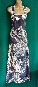 New-NICOLE-FARHI-Uk10-Cream-Grey-Abstract-Print-FINE-SILK-Long-Maxi-Cruise-Dress