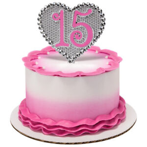 La Quinceanera Heart Shaped Pink Or Purple 15 Years Old Cake Topper