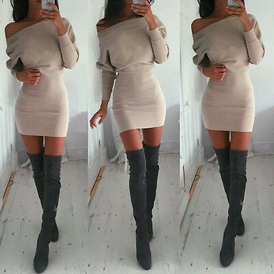 Sexy Womens Winter Off Shoulder Long Sleeve Jumper Bodycon Shirt Slim Mini Dress