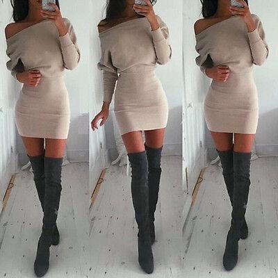 Sexy Womens Winter Off Shoulder Long Sleeve Jumper Bodycon Shirt Slim Mini Dress