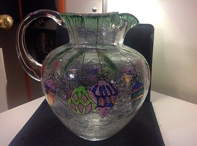 Sale BEAUTIFUL CRYSTAL CLEAR PITCHER HAND CRAFTED & PAINTED  ROMANIA CHRISTMAS