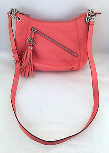 1e06dff30309 Image is loading PWT-MICHAEL-KORS-Charm-Tassel-Coral-Pink-Leather-