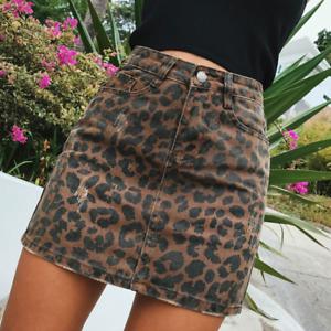 Sexy Leopard Print Denim Skirt Women Summer Bodycon High Waist Pencil Skirts