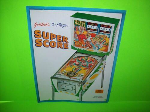 Gottlieb SUPER SCORE Original 1967 Flipper Game Pinball Machine Promo Flyer