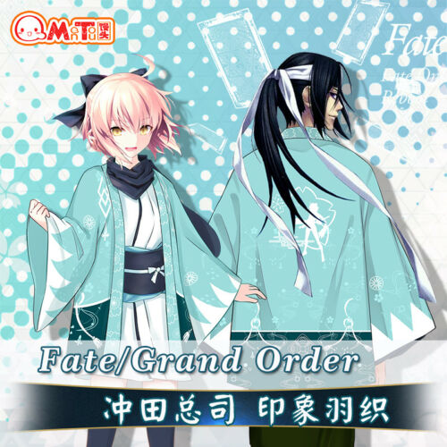 Japanese Anime Fate Okita Souji Cosplay Kimono Haori Bathrobe Coat Unisex Jacket