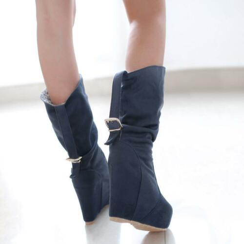 Stylish Ladies High wedge Heels Platform mid calf pull on Boots Round Toe Shoes