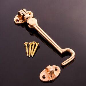 "10/"" Brass Cabin Hook /& Eye Silent Catch//Latch//Holder//Back Gate//Shed//Patio Door"