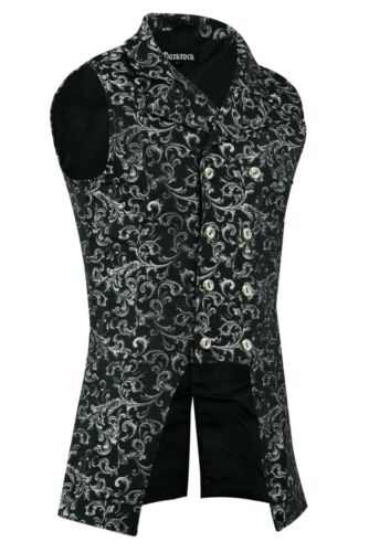 Men/'s Double Breasted GOVERNOR Silver Vest Waistcoat Brocade Gothic Steampunk