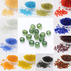 50g glass seed beads Grey Transparent approx 3mm size 8//0