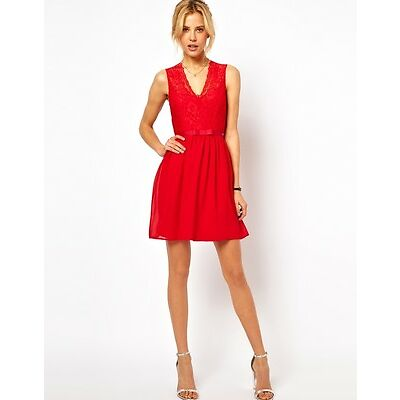 Boldgal Evening Lace Cocktail Western Skater Party Red Dress