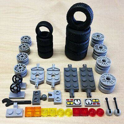 New LEGO Lot Black 30.4x14 Vehicle Tires White Hubs 16 Sets Racing Lawn Wheels
